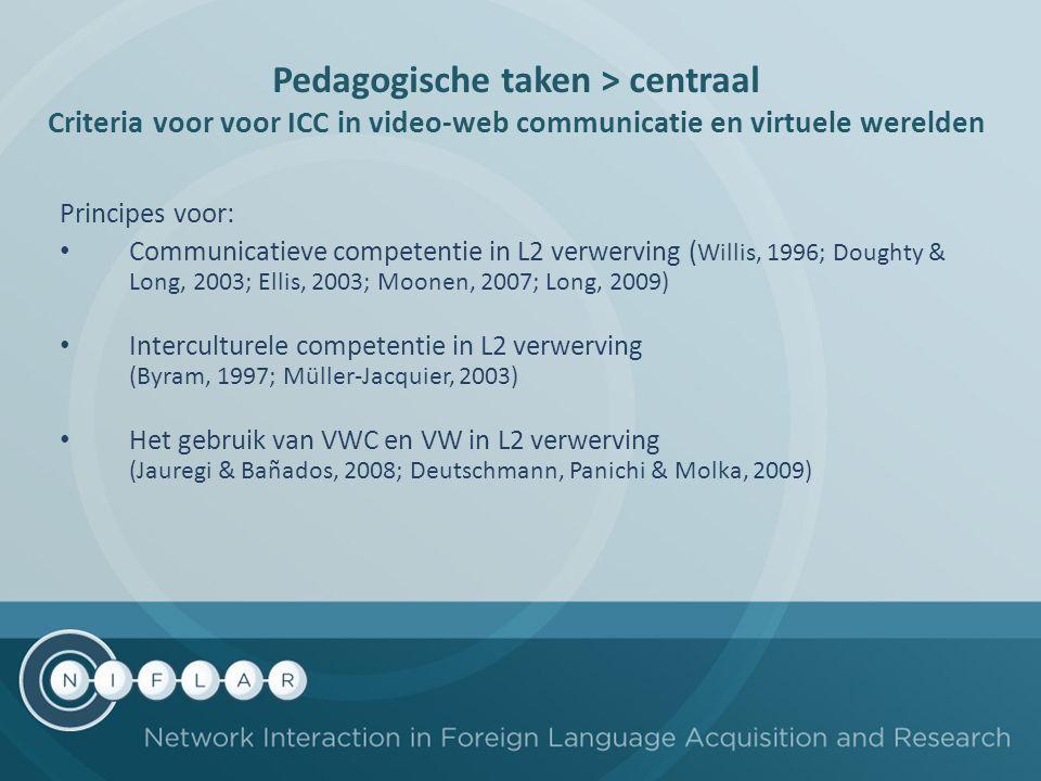 Pedagogische taken > centraal Criteria voor voor ICC in video-web communicatie en virtuele werelden