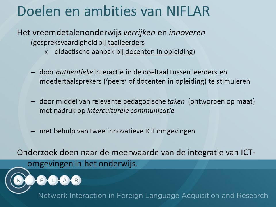 Doelen en ambities van NIFLAR