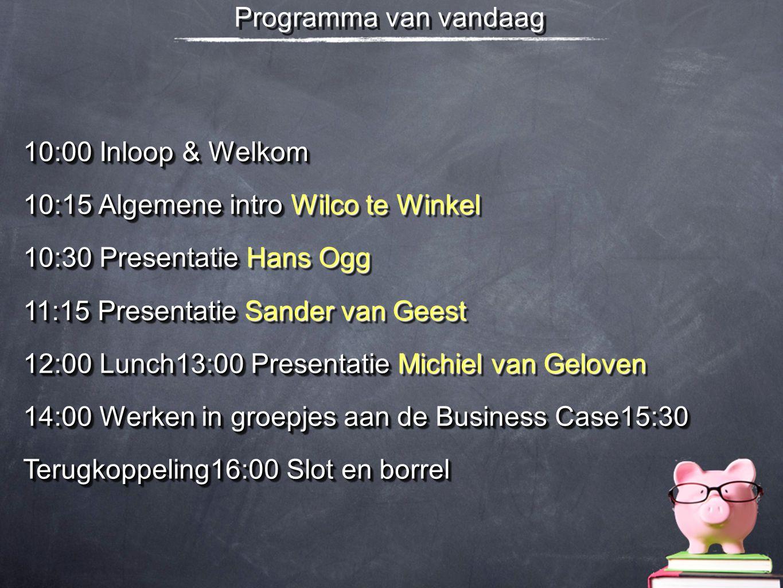 Programma van vandaag 10:00 Inloop & Welkom.