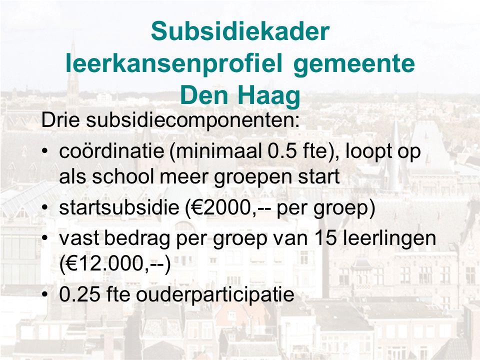 Subsidiekader leerkansenprofiel gemeente Den Haag
