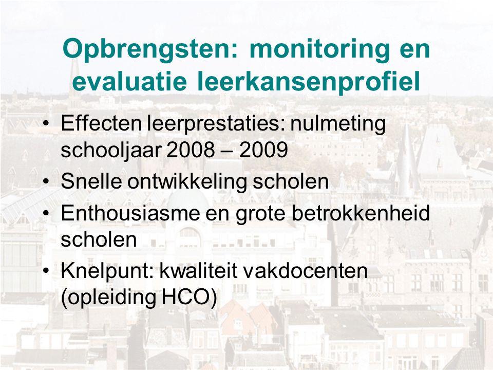 Opbrengsten: monitoring en evaluatie leerkansenprofiel