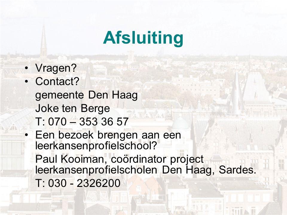 Afsluiting Vragen Contact gemeente Den Haag Joke ten Berge