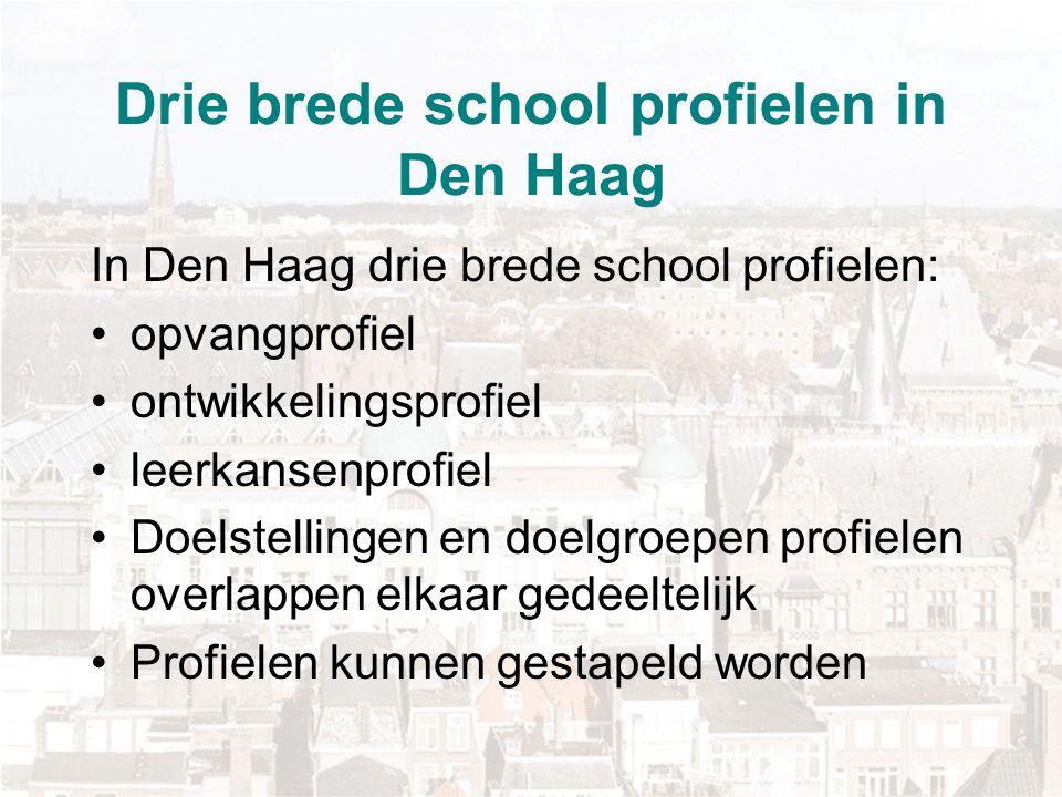 Drie brede school profielen in Den Haag