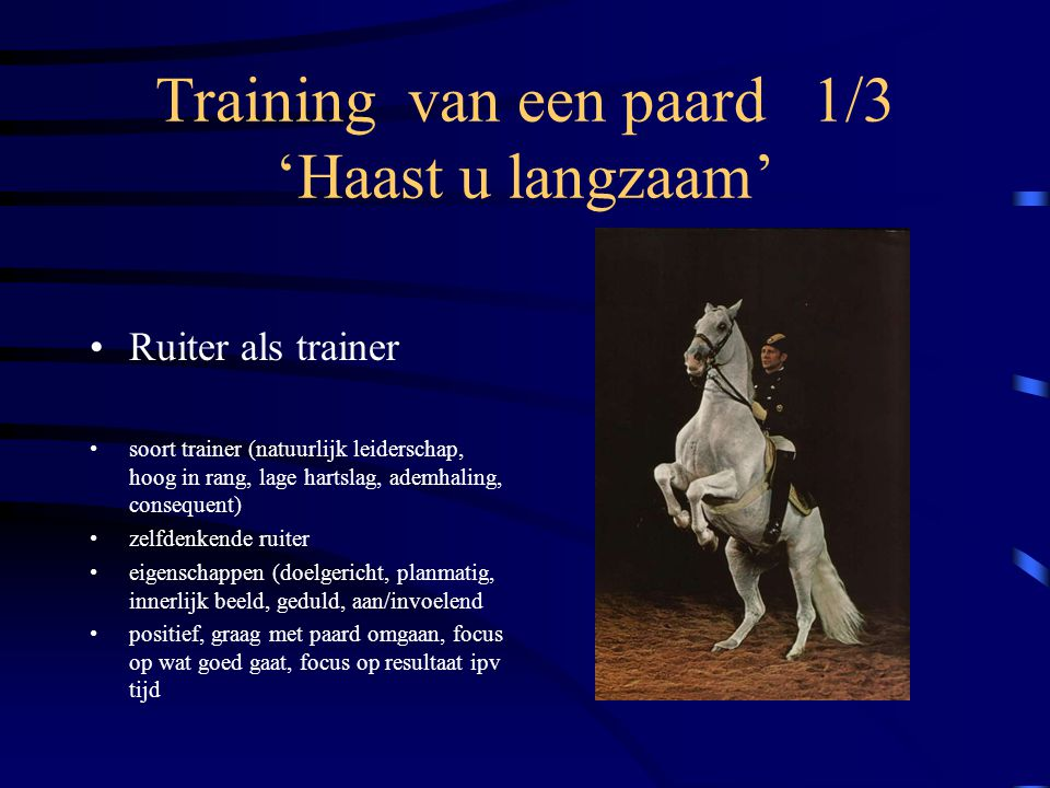 Training van een paard 1/3 'Haast u langzaam'