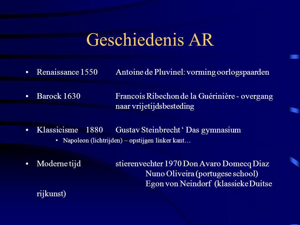 Geschiedenis AR Renaissance 1550 Antoine de Pluvinel: vorming oorlogspaarden.