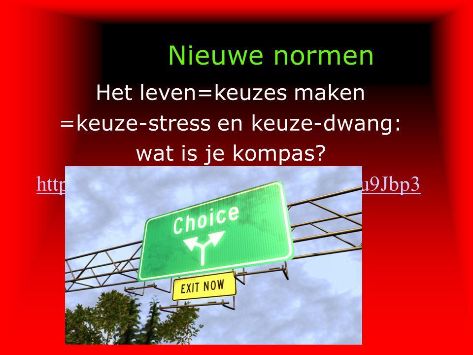 Nieuwe normen Het leven=keuzes maken =keuze-stress en keuze-dwang: