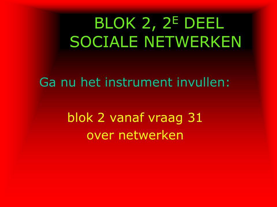 BLOK 2, 2E DEEL SOCIALE NETWERKEN