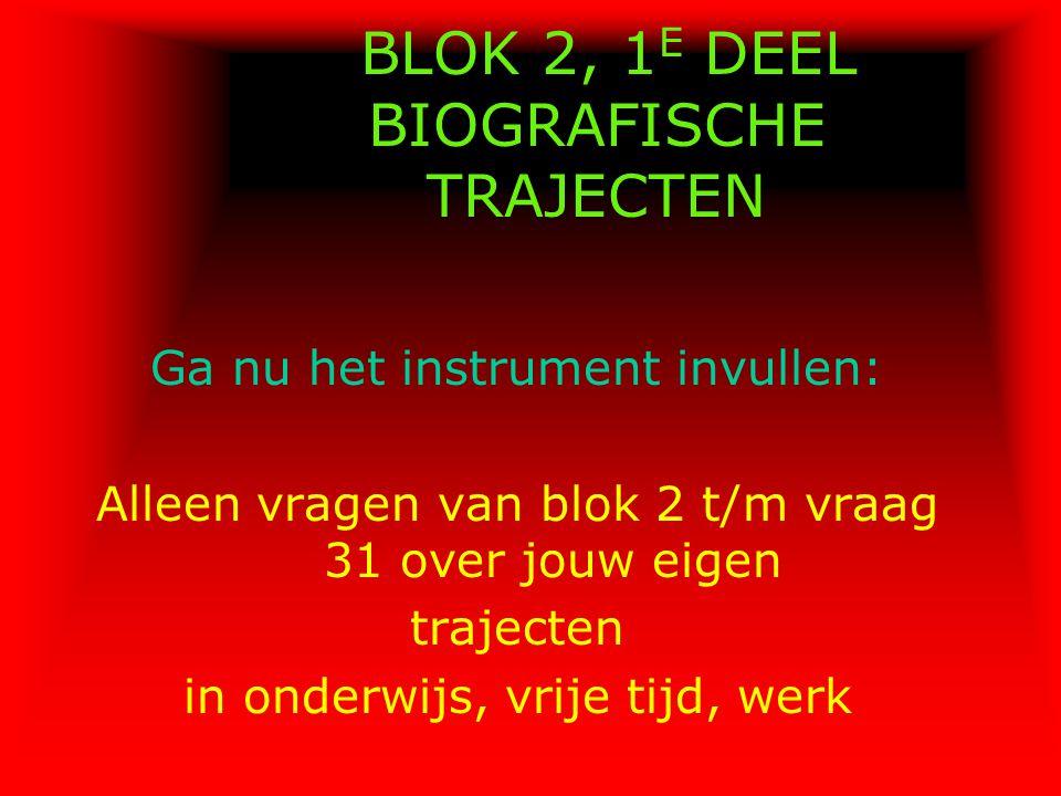 BLOK 2, 1E DEEL BIOGRAFISCHE TRAJECTEN