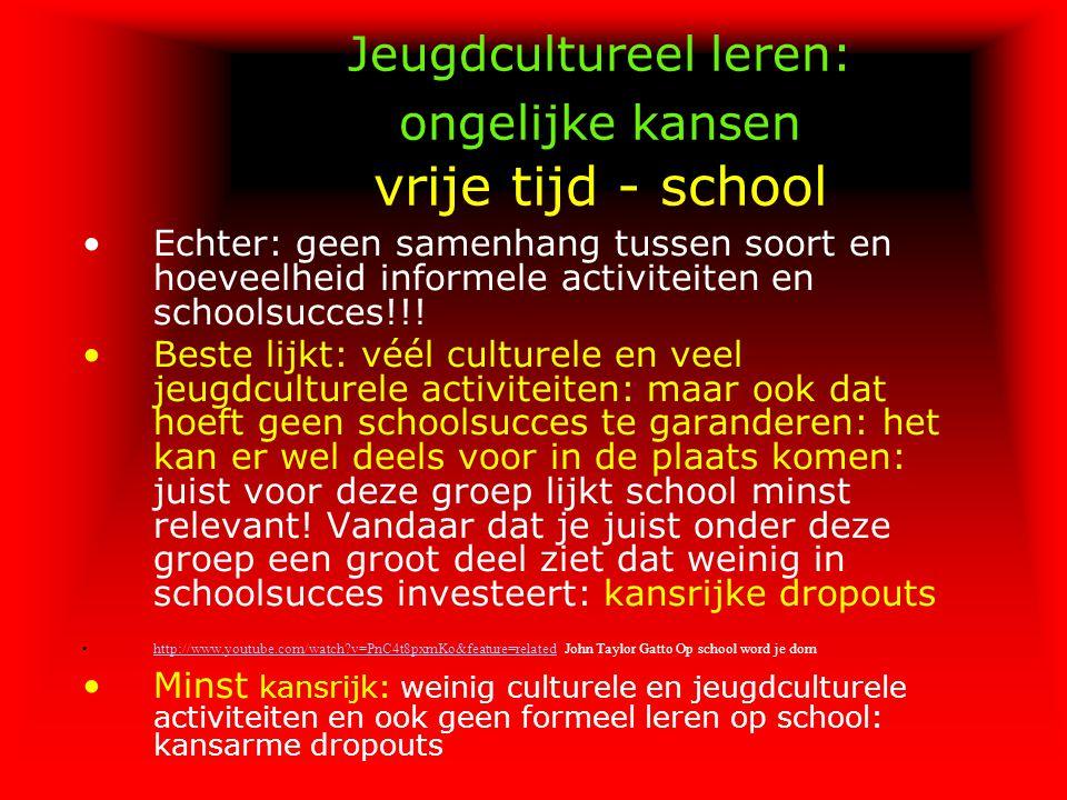 Jeugdcultureel leren: ongelijke kansen vrije tijd - school