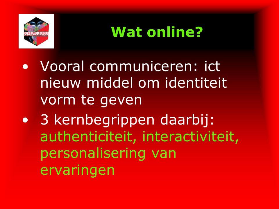 Wat online Vooral communiceren: ict nieuw middel om identiteit vorm te geven.