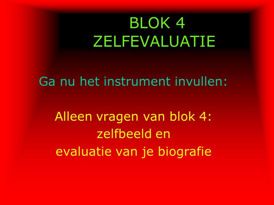 BLOK 4 ZELFEVALUATIE Ga nu het instrument invullen: