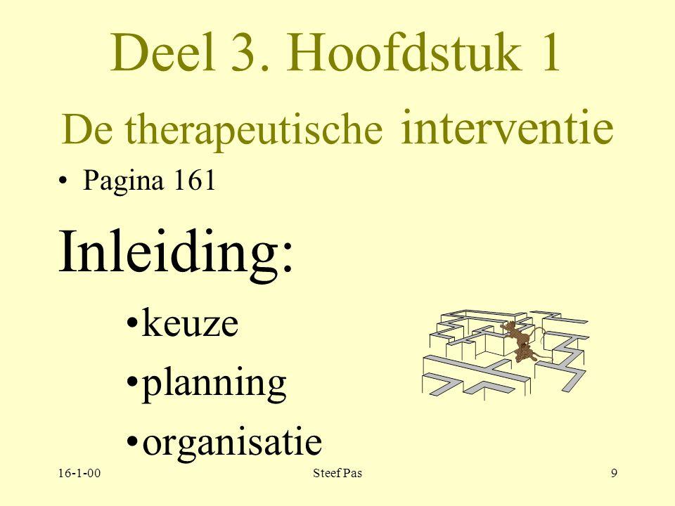 Deel 3. Hoofdstuk 1 De therapeutische interventie