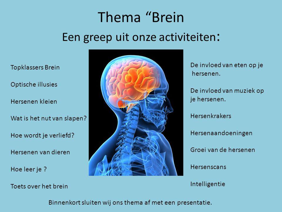 Thema Brein Een greep uit onze activiteiten: