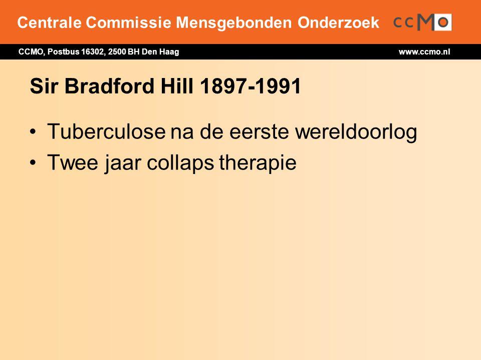 Sir Bradford Hill 1897-1991 Tuberculose na de eerste wereldoorlog Twee jaar collaps therapie