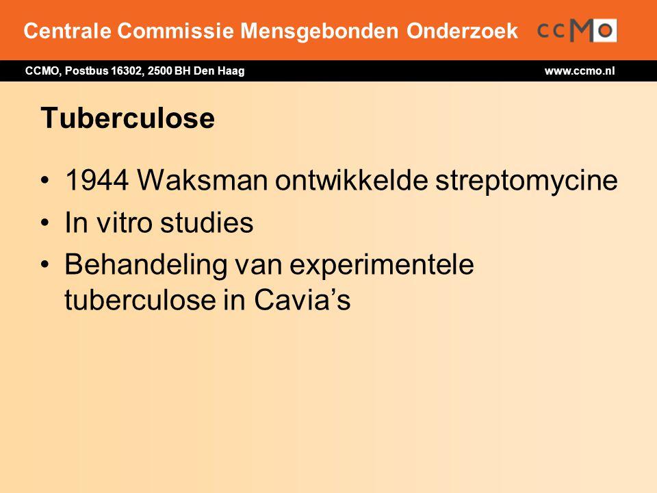Tuberculose 1944 Waksman ontwikkelde streptomycine.
