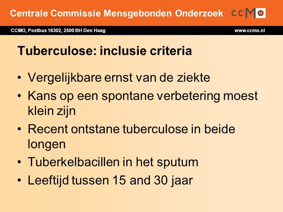 Tuberculose: inclusie criteria