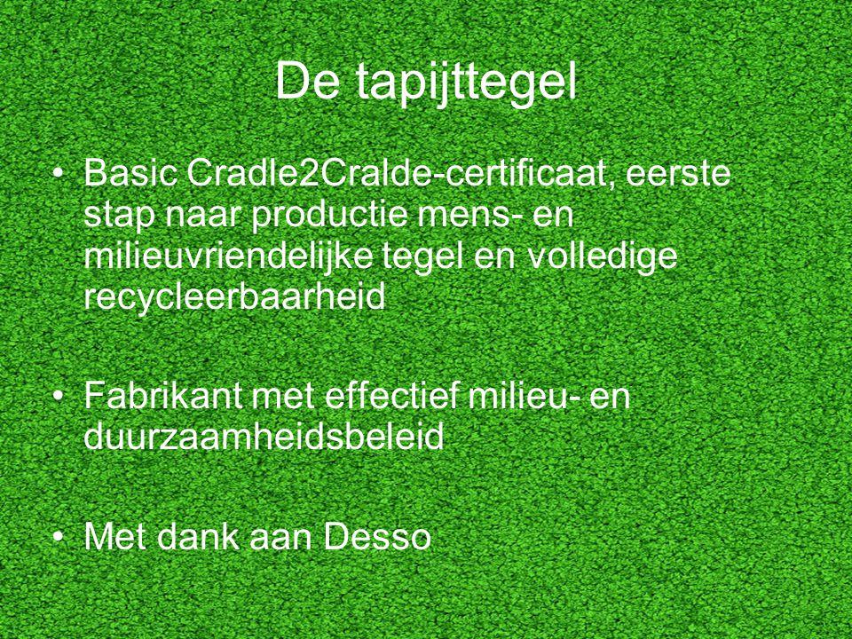 De tapijttegel Basic Cradle2Cralde-certificaat, eerste stap naar productie mens- en milieuvriendelijke tegel en volledige recycleerbaarheid.