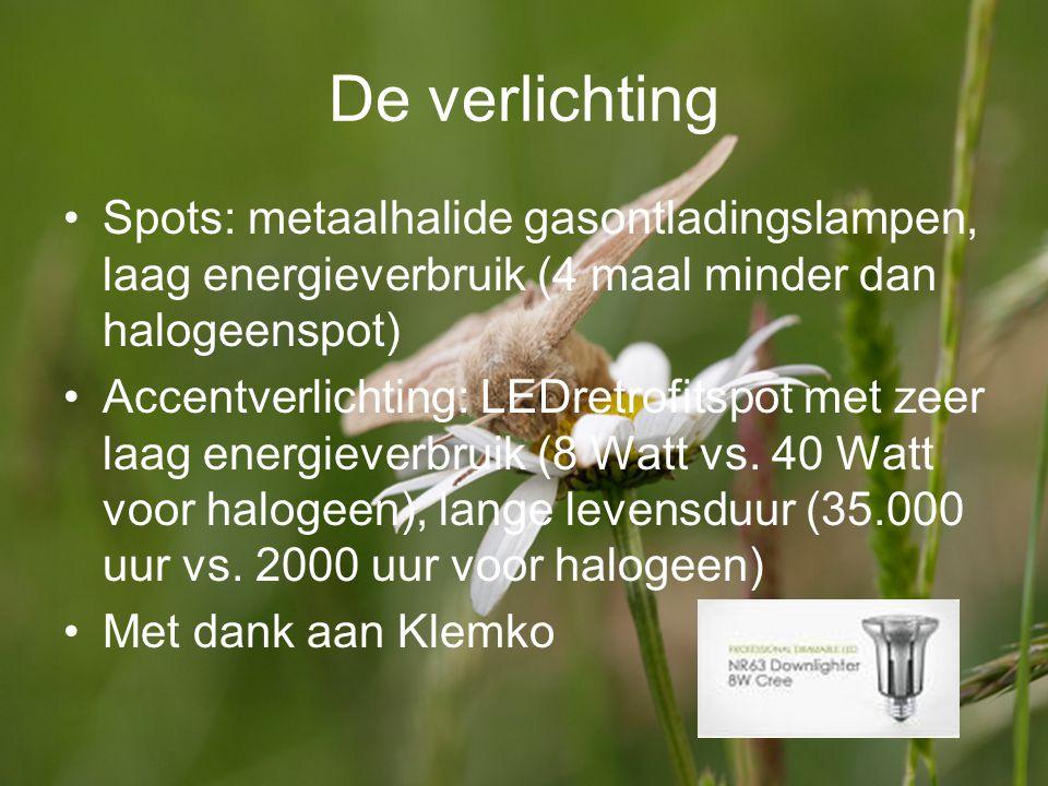 De verlichting Spots: metaalhalide gasontladingslampen, laag energieverbruik (4 maal minder dan halogeenspot)