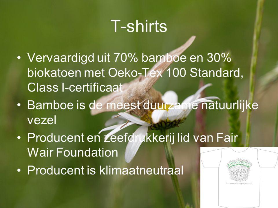 T-shirts Vervaardigd uit 70% bamboe en 30% biokatoen met Oeko-Tex 100 Standard, Class I-certificaat.