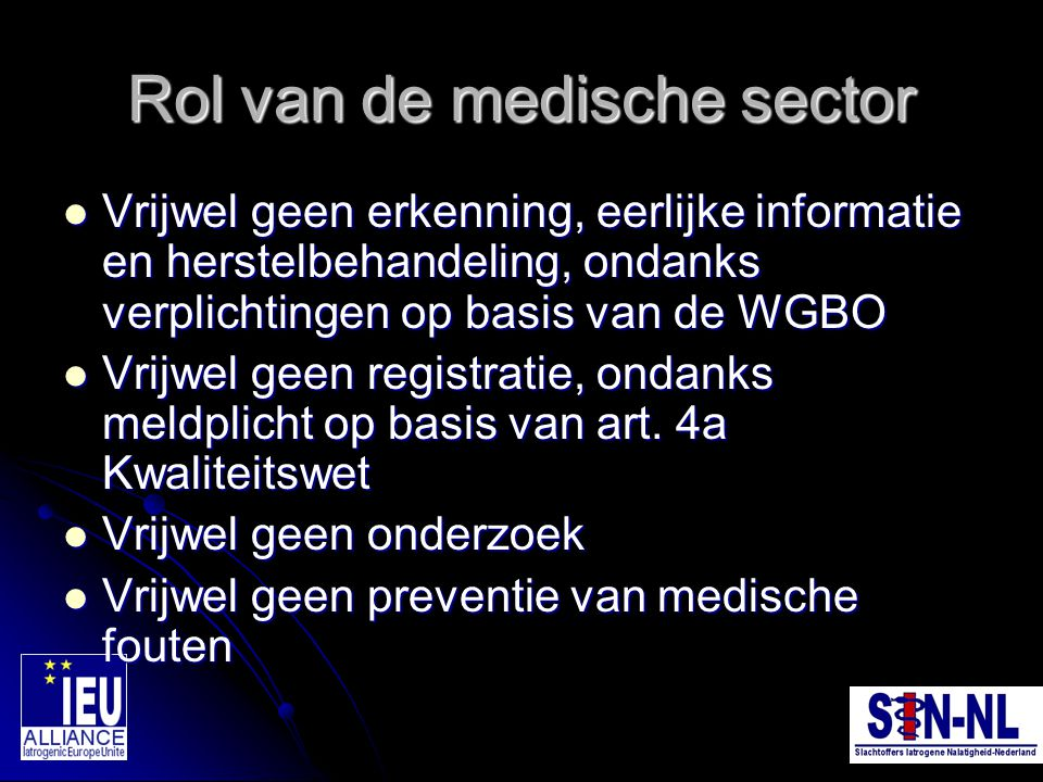 Rol van de medische sector
