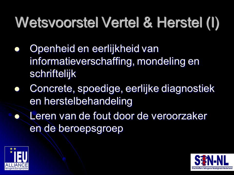 Wetsvoorstel Vertel & Herstel (I)
