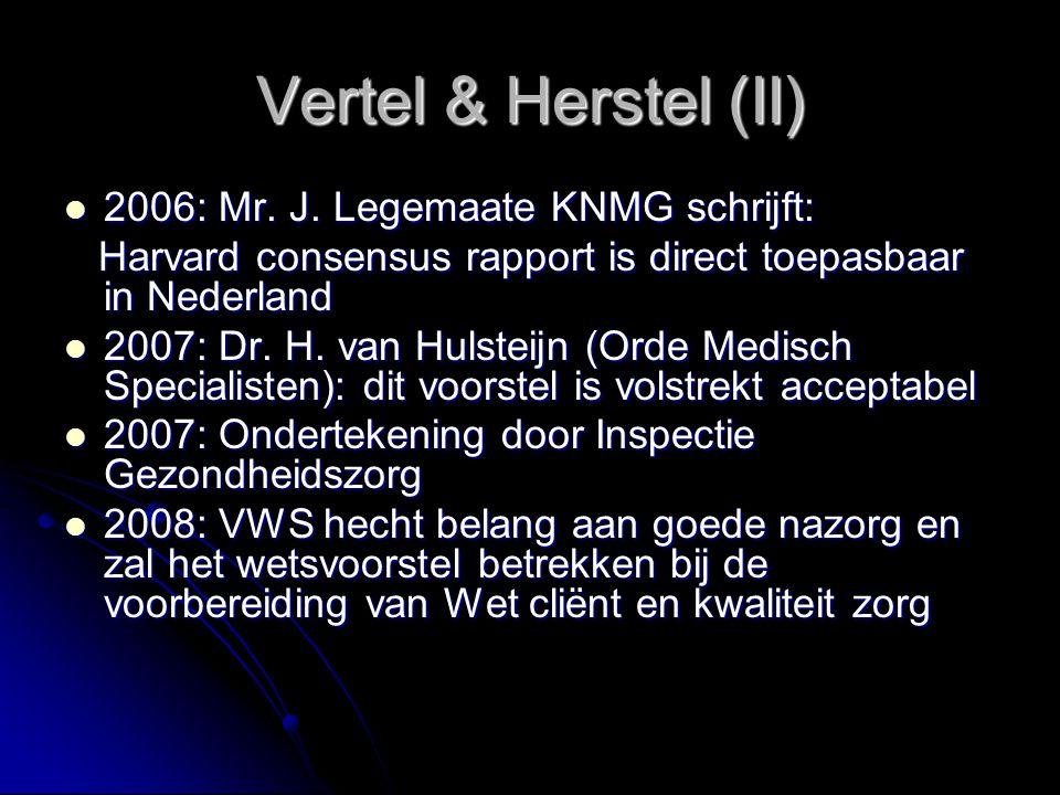 Vertel & Herstel (II) 2006: Mr. J. Legemaate KNMG schrijft: