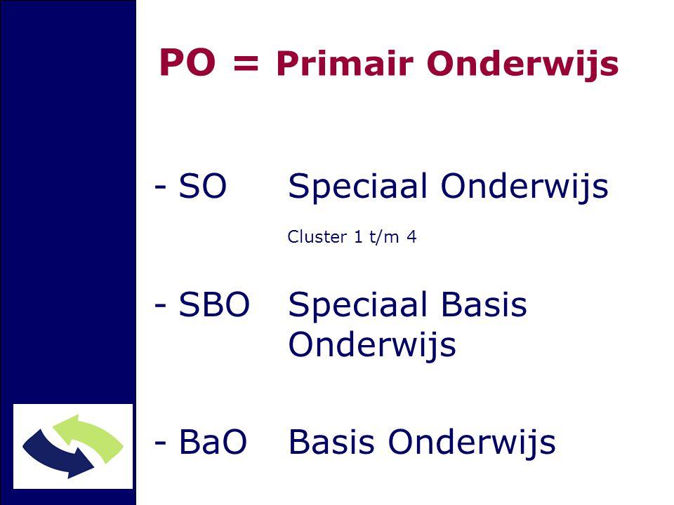 PO = Primair Onderwijs SO Speciaal Onderwijs Cluster 1 t/m 4