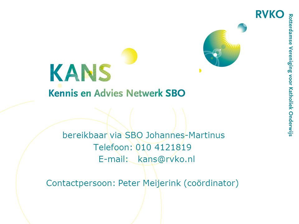 bereikbaar via SBO Johannes-Martinus Telefoon: 010 4121819