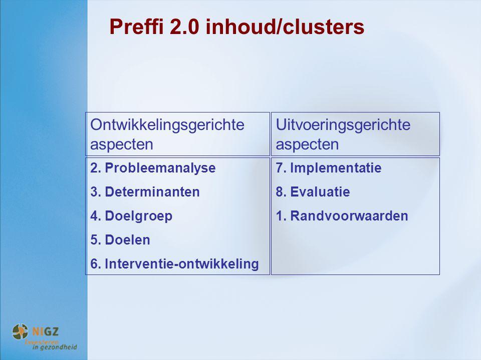 Preffi 2.0 inhoud/clusters