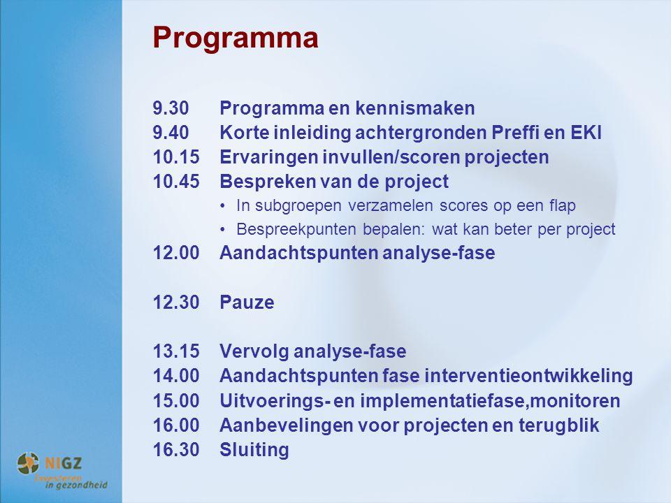 Programma 9.30 Programma en kennismaken