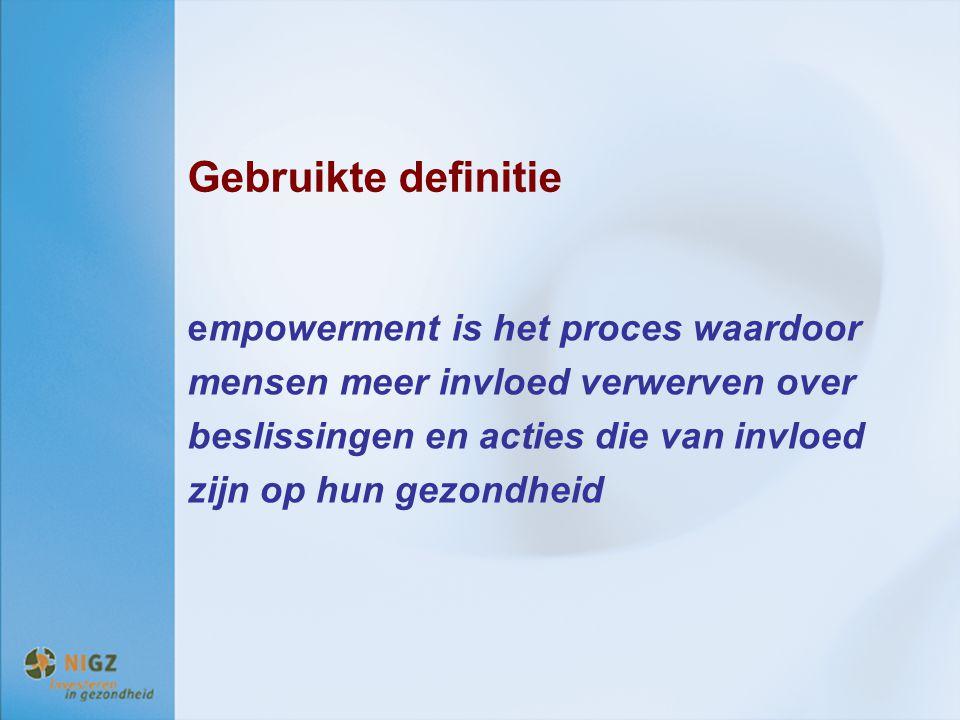 Gebruikte definitie empowerment is het proces waardoor