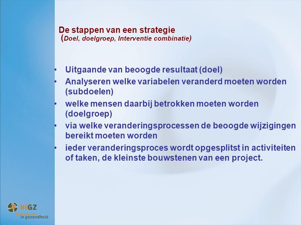 De stappen van een strategie (Doel, doelgroep, Interventie combinatie)