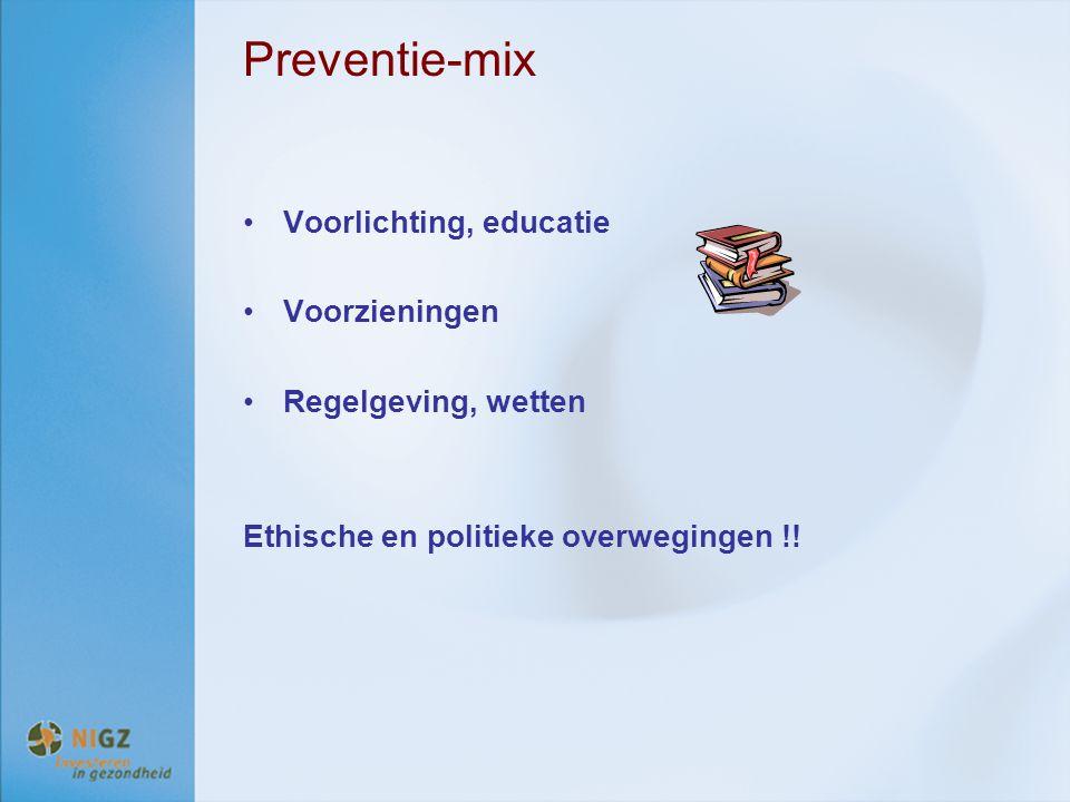 Preventie-mix Voorlichting, educatie Voorzieningen Regelgeving, wetten