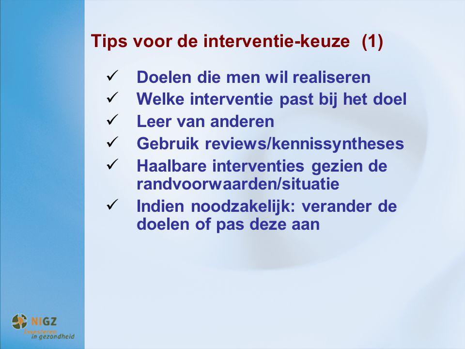 Tips voor de interventie-keuze (1)