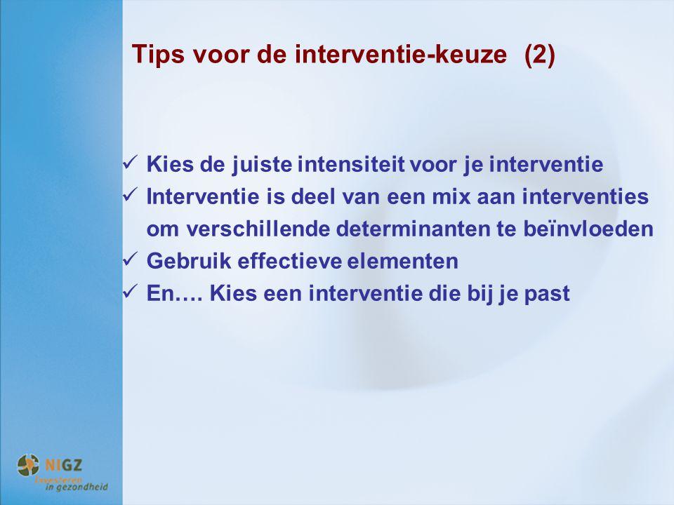 Tips voor de interventie-keuze (2)