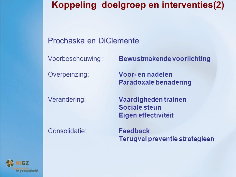 Koppeling doelgroep en interventies(2)