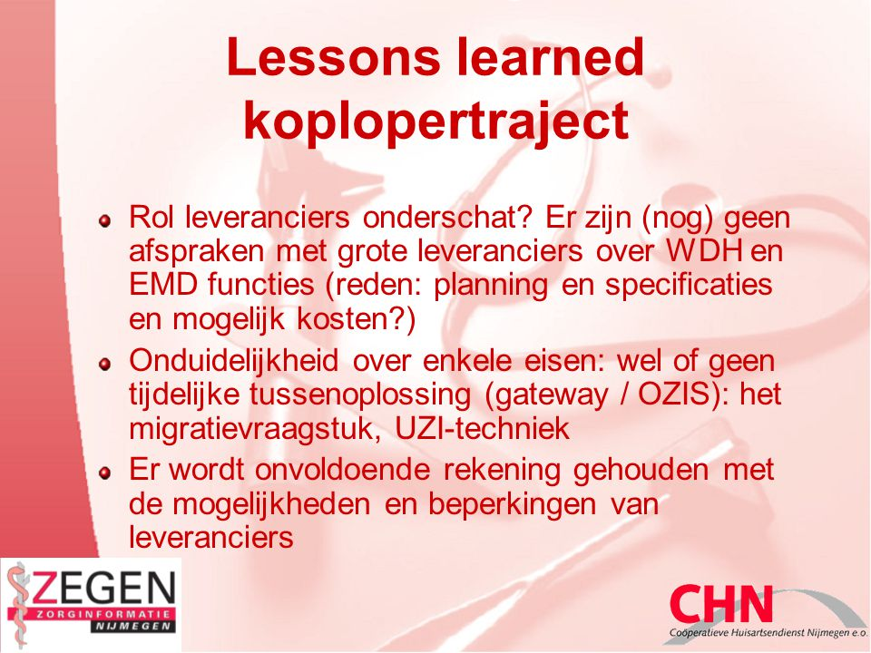 Lessons learned koplopertraject