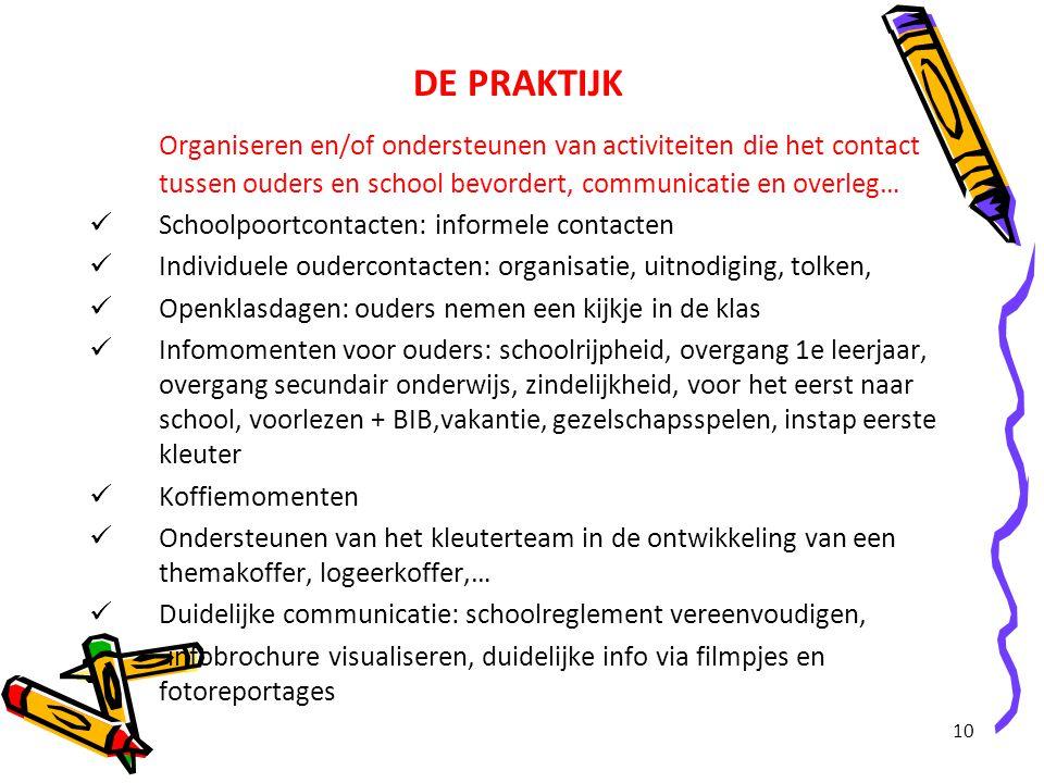 DE PRAKTIJK Organiseren en/of ondersteunen van activiteiten die het contact tussen ouders en school bevordert, communicatie en overleg…