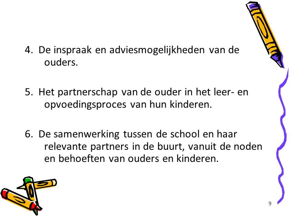 4. De inspraak en adviesmogelijkheden van de ouders.