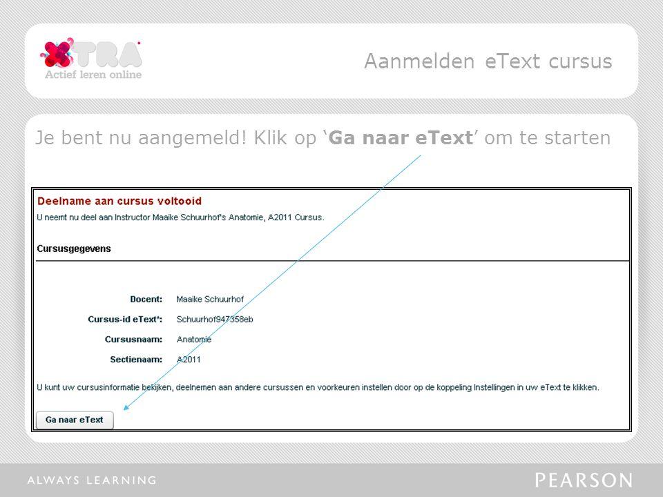 Aanmelden eText cursus