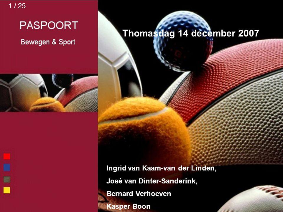 Thomasdag 14 december 2007 1 / 25 Ingrid van Kaam-van der Linden,