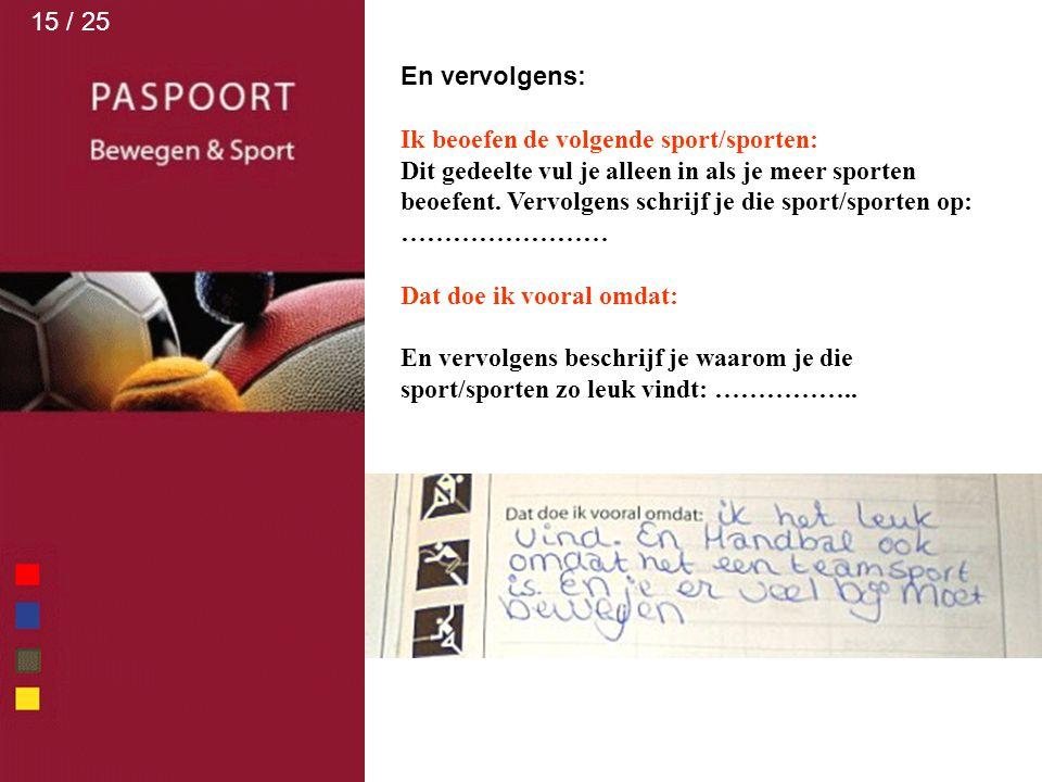 15 / 25 En vervolgens: Ik beoefen de volgende sport/sporten: