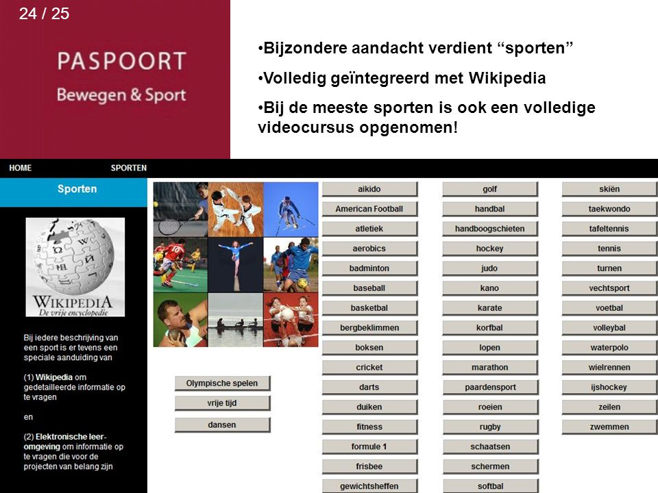 24 / 25 Bijzondere aandacht verdient sporten Volledig geïntegreerd met Wikipedia.