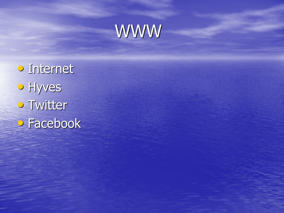 WWW Internet Hyves Twitter Facebook