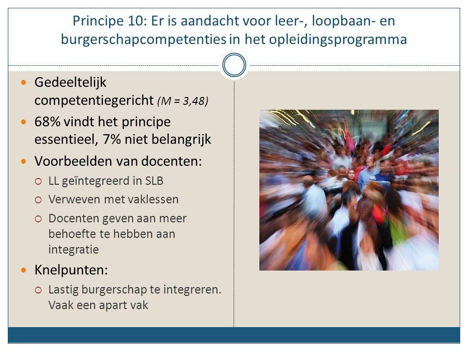 Principe 10: Er is aandacht voor leer-, loopbaan- en burgerschapcompetenties in het opleidingsprogramma