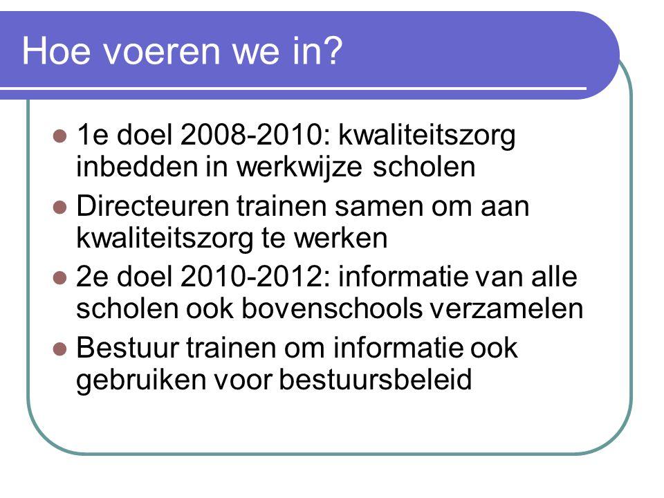 Hoe voeren we in 1e doel 2008-2010: kwaliteitszorg inbedden in werkwijze scholen. Directeuren trainen samen om aan kwaliteitszorg te werken.