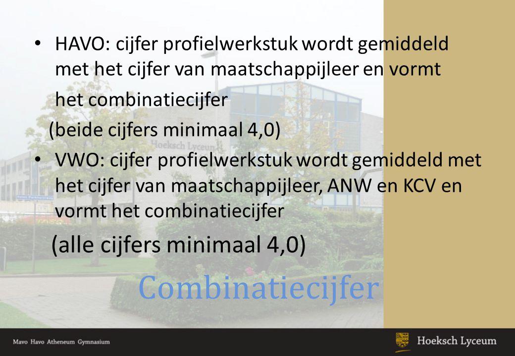Combinatiecijfer (alle cijfers minimaal 4,0)
