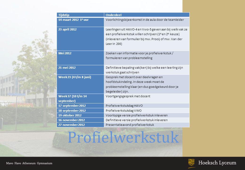 Profielwerkstuk Tijdstip Onderdeel 14 maart 2012 1e uur