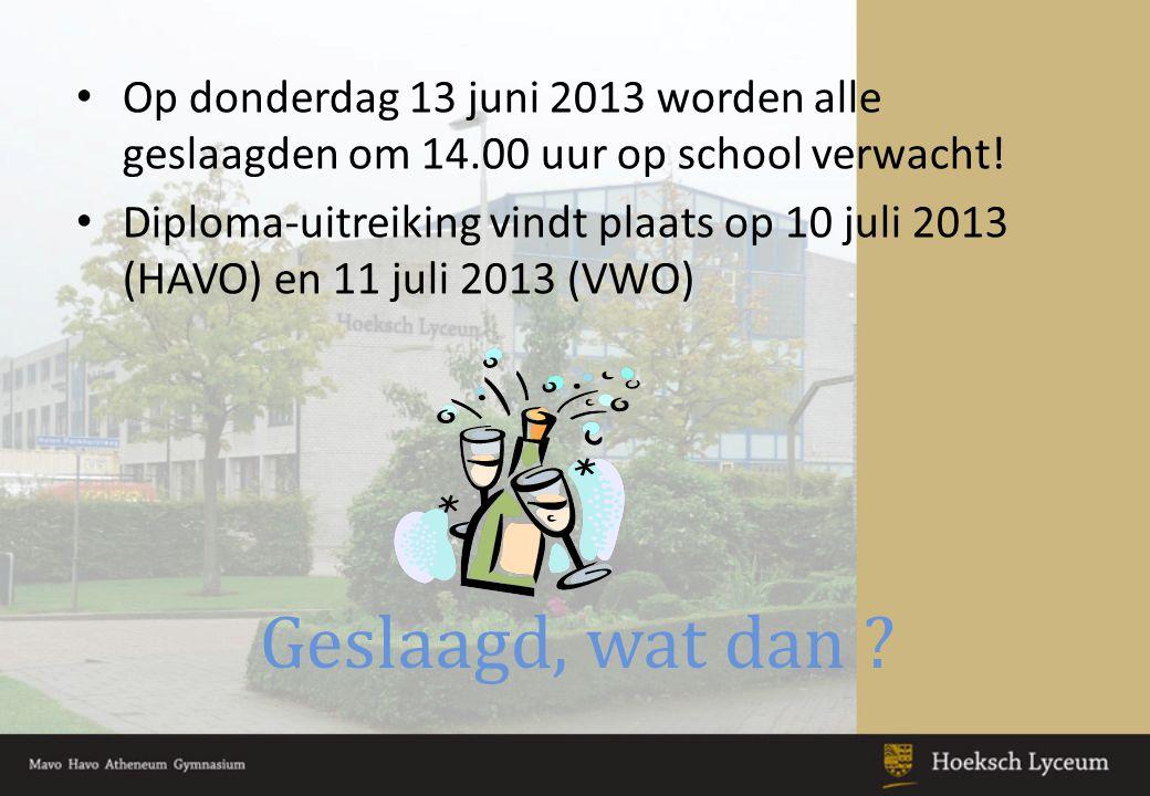 Op donderdag 13 juni 2013 worden alle geslaagden om 14