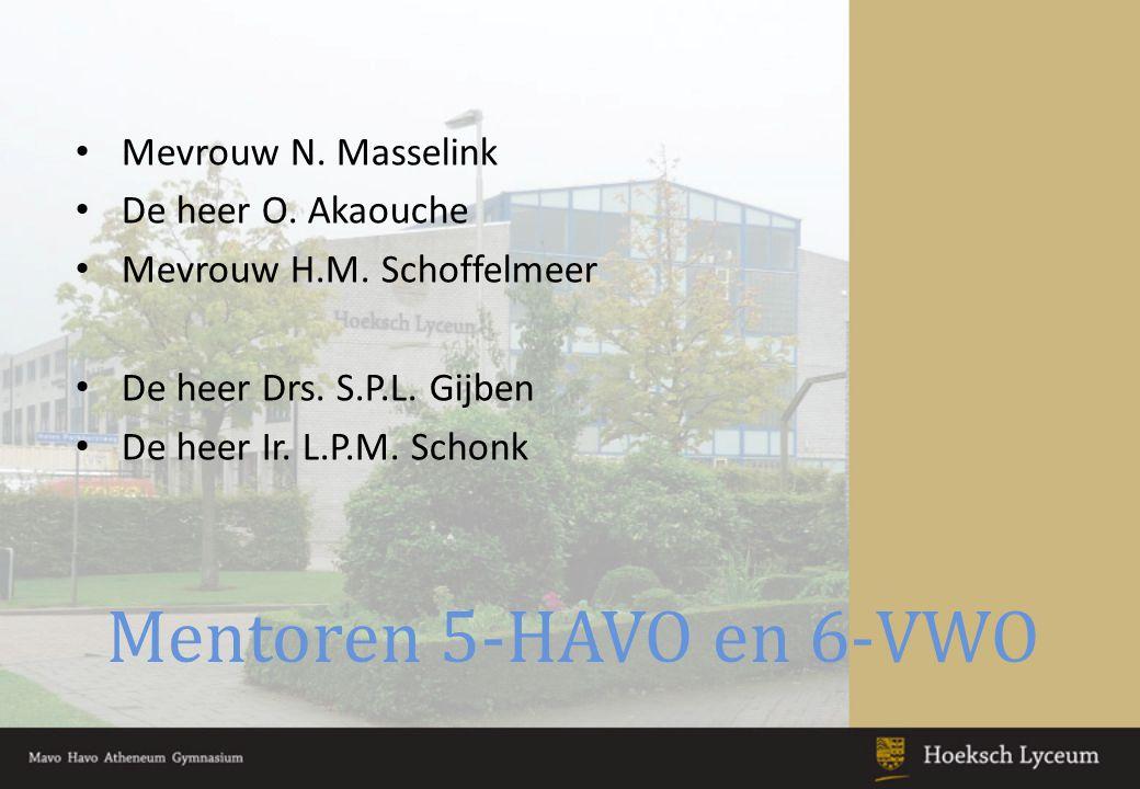 Mentoren 5-HAVO en 6-VWO Mevrouw N. Masselink De heer O. Akaouche